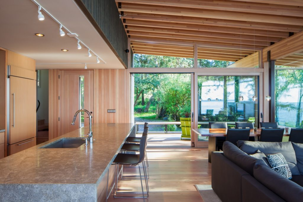 Modern Home Barn Home Contemporary Home Kitchen Family Room Exposed Ceiling Beams