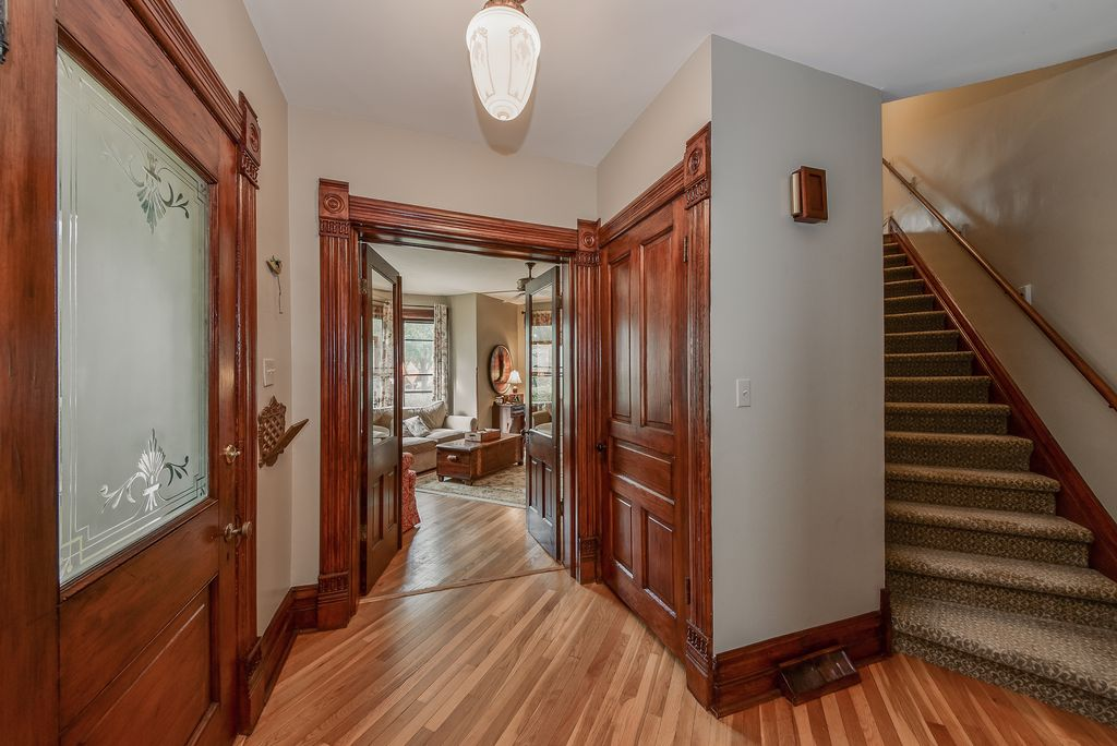 Restored Remodeled Queen Anne Victorian House Entry Foyer Period Trim