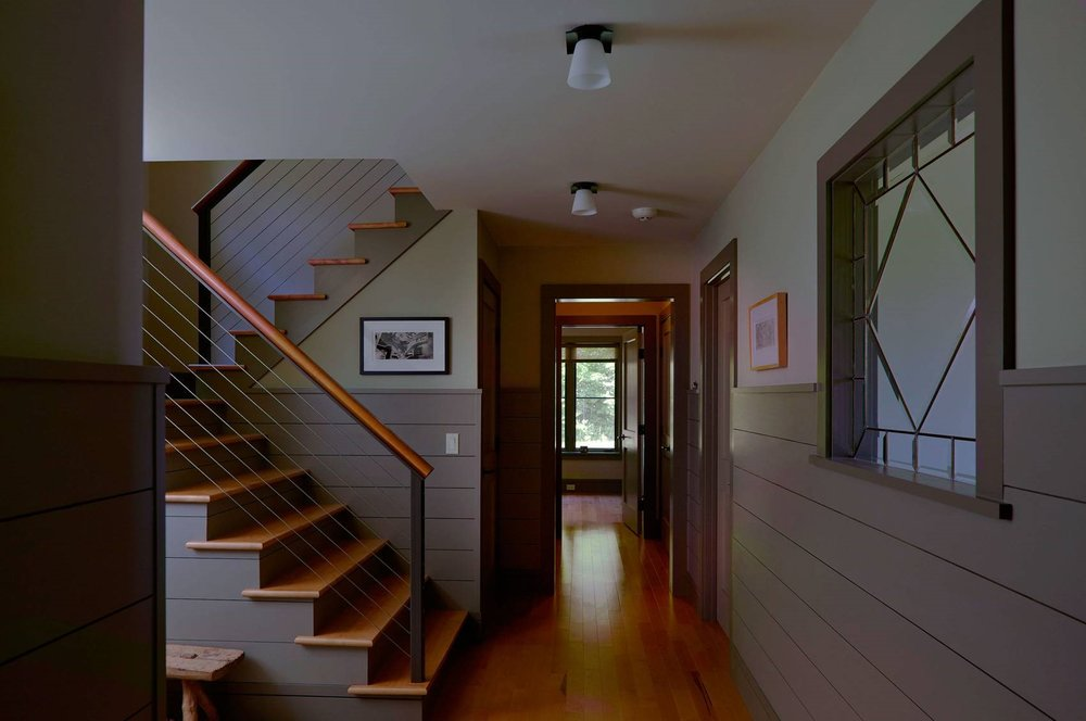 Contemporary Cottage Modern Interior Entry Foyer Cable Rail Stair Shiplap Wainscot