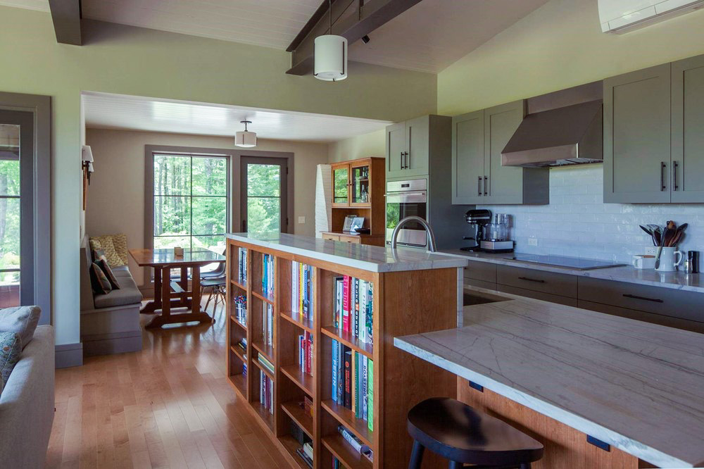 Contemporary Cottage Modern Interior Open Kitchen Built In Bookcases Exposed Roof Trusses