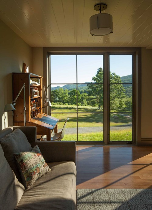 Contemporary Cottage Modern Interior Home Office Floor to Ceiling Windows