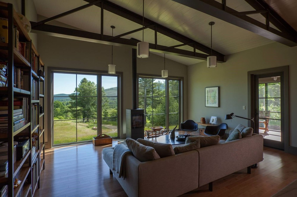 Contemporary Cottage Modern Interior Family Room Exposed Roof Trusses