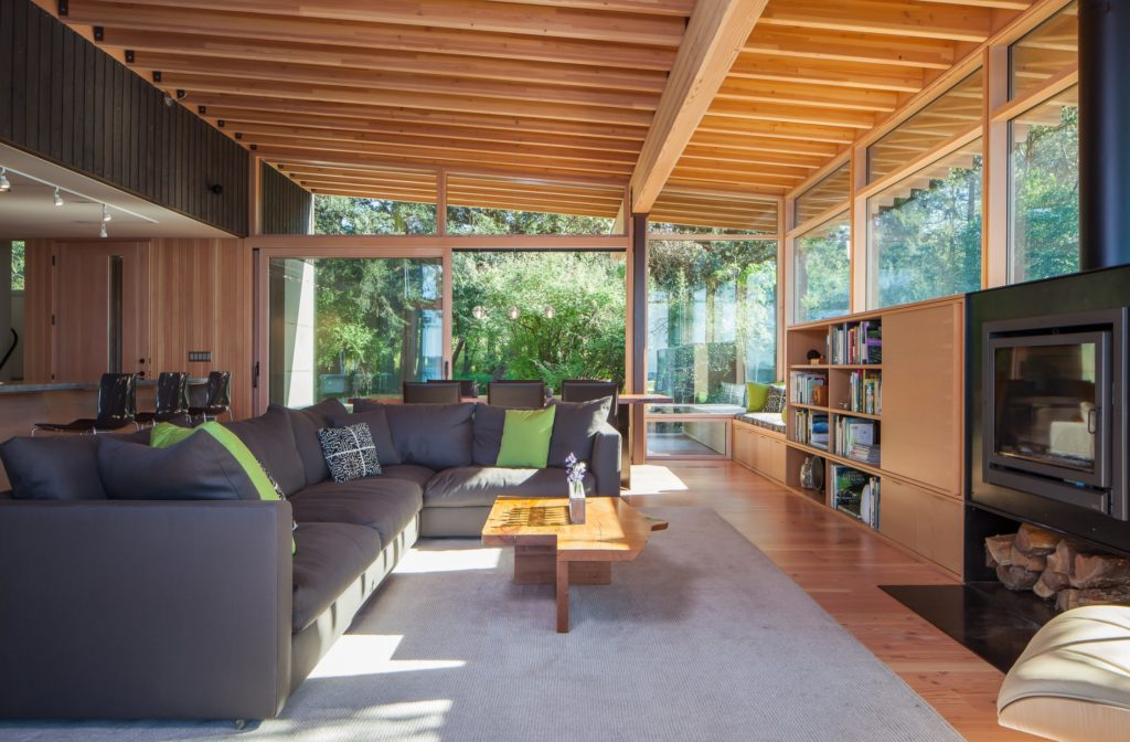 Modern Home Barn Home Contemporary Home Family Room Exposed Ceiling Beams Built In Bookcases