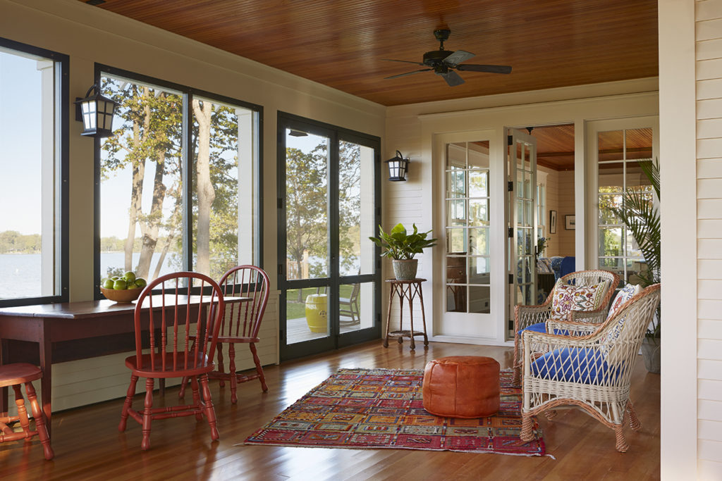Lake Cottage Lake Cabin screened porch wood ceiling