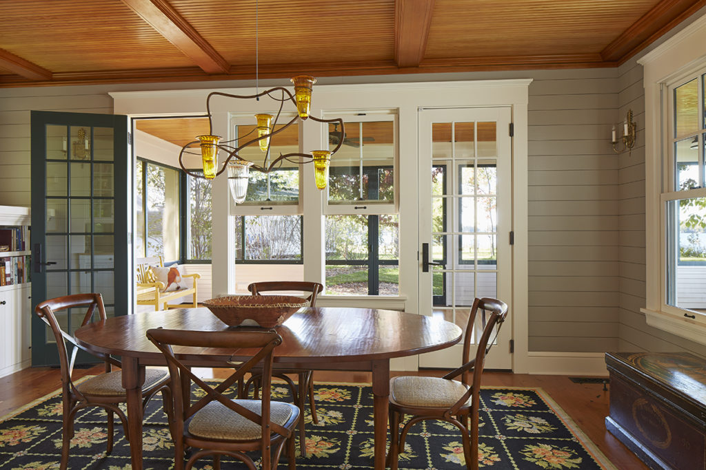 Lake Cottage Lake Cabin dining room stained wood ceiling