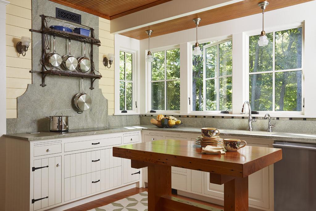 Lake Cottage Lake Cabin Kitchen stone backsplash ceiling beams
