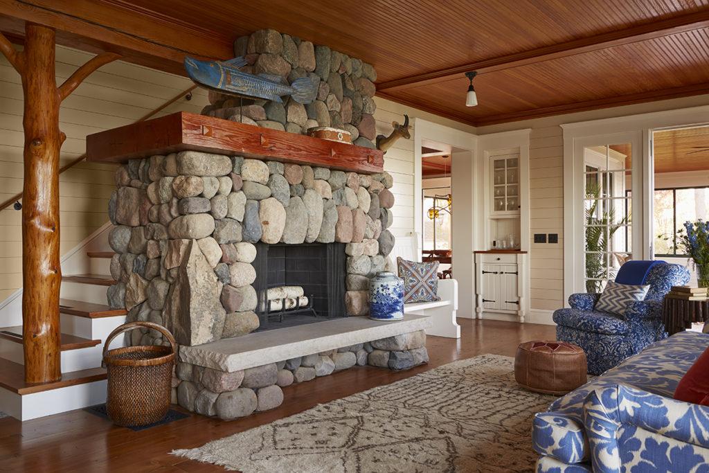 Lake Cottage Lake Cabin Living Room River Rock Fireplace