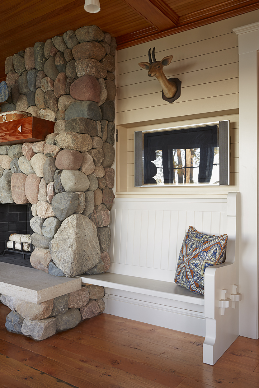 Lake Cottage Lake Cabin Living Room River Rock Fireplace Stained Wood Ceiling