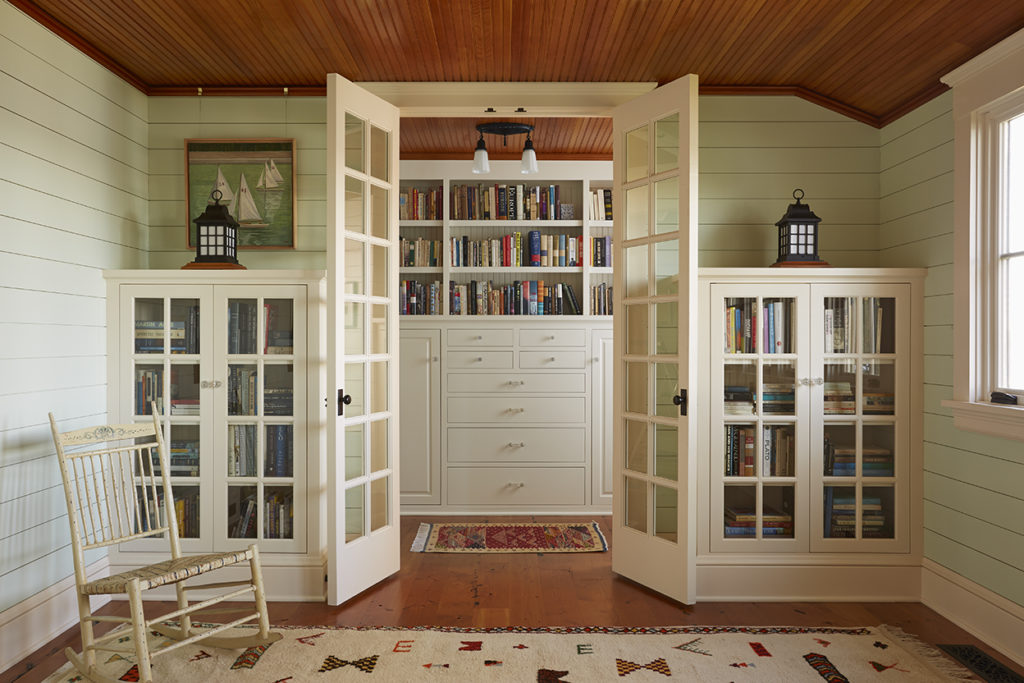 Lake Cottage Lake Cabin french doors built in bookcases