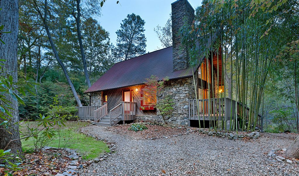 Rustic Cabin Stone Chimney Steep Roof