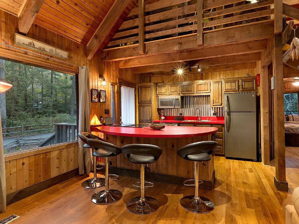 Rustic Cabin Kitchen Steel Backsplash Wood Beams Wood Walls Wood Ceilings
