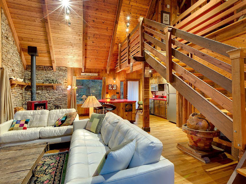 Rustic Cabin Wood Beams Wood Walls Wood Ceilings Loft Stone Walls