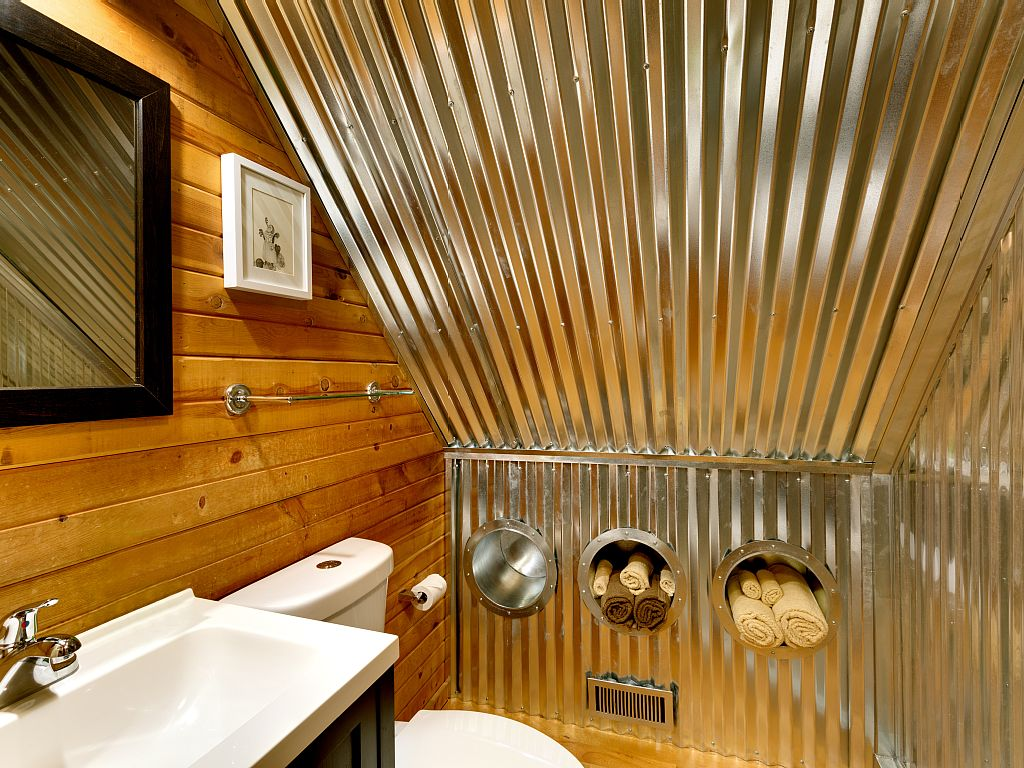 Rustic Cabin Bathroom Corrugated Steel Walls Ceiling