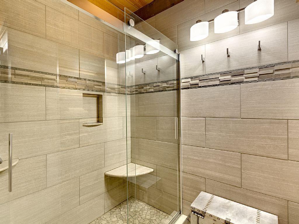 Rustic Cabin Master Bathroom Shower Porcelain Tile Rolling Shower Door