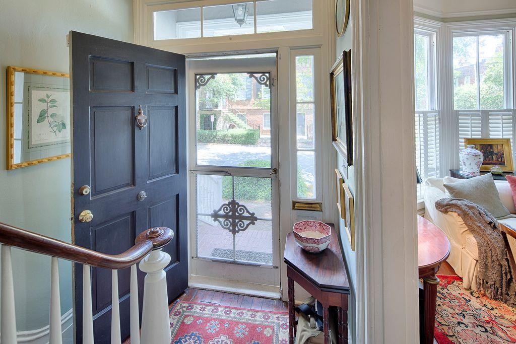 Restored Italianate House Entry Foyer Historic Baluster