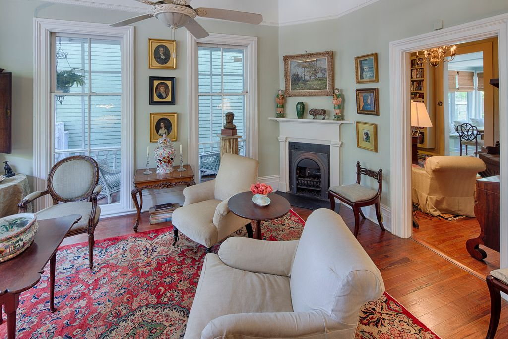 Restored Italianate House Living Room Old Fireplace