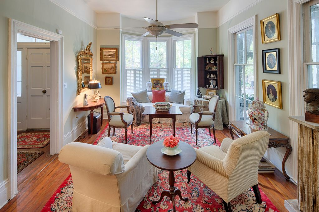 Restored Italianate House Living Room Bay Window