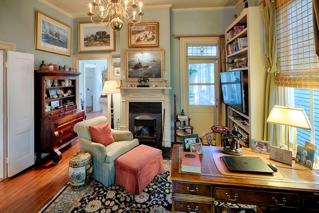 Restored Italianate House Parlor Study