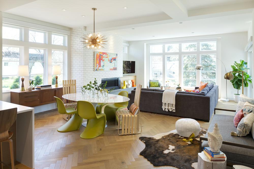 Contemporary Family Room Brick Fireplace