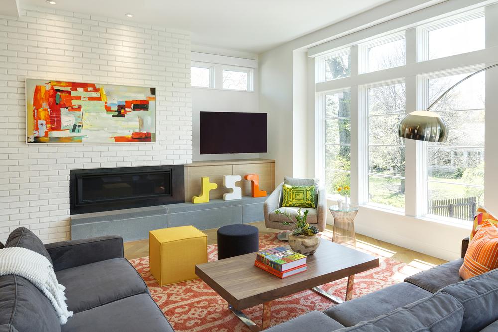 Contemporary Family Room Gas Fireplace Big Windows