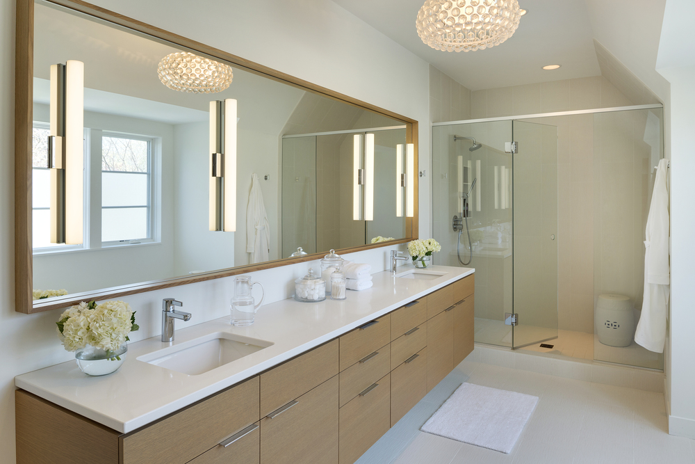 Contemporary Master Bath Quartz Countertops