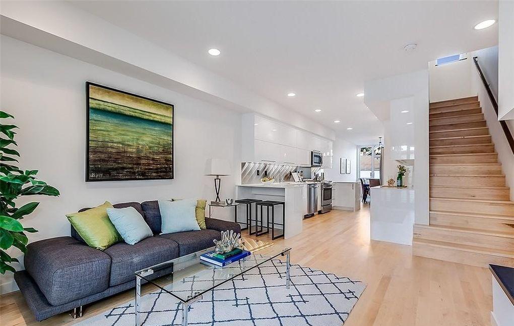 contemporary modern condo interior white kitchen