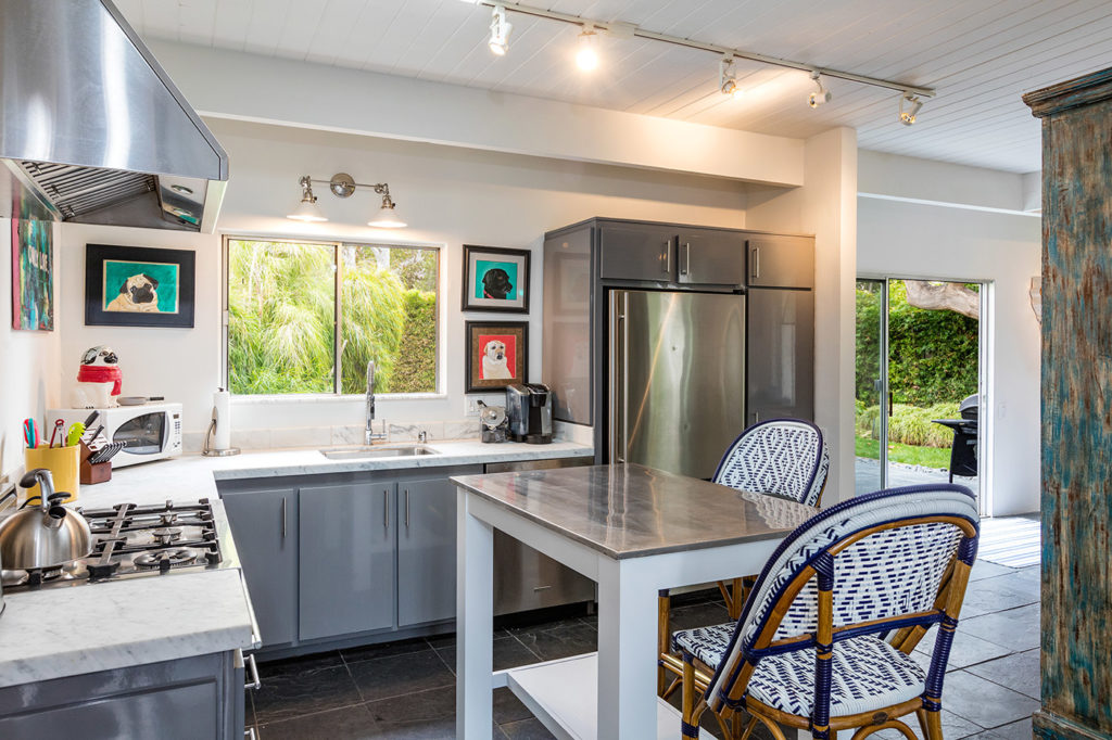 California Contemporary Mid Century Modern Home Kitchen painted board ceiling open floor plan