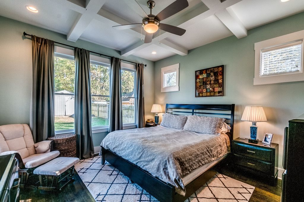 Remodeled Craftsman Bungalow Master Bedroom Ceiling Beams