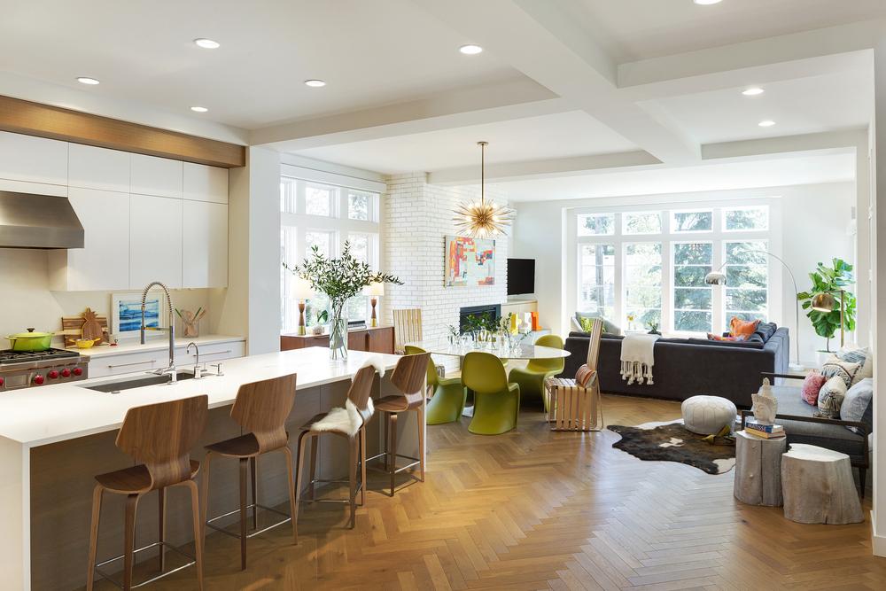 Contemporary Kitchen Herringbone Wood Floor