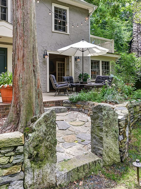 Colonial Two-Story Home stone walk brick front porch