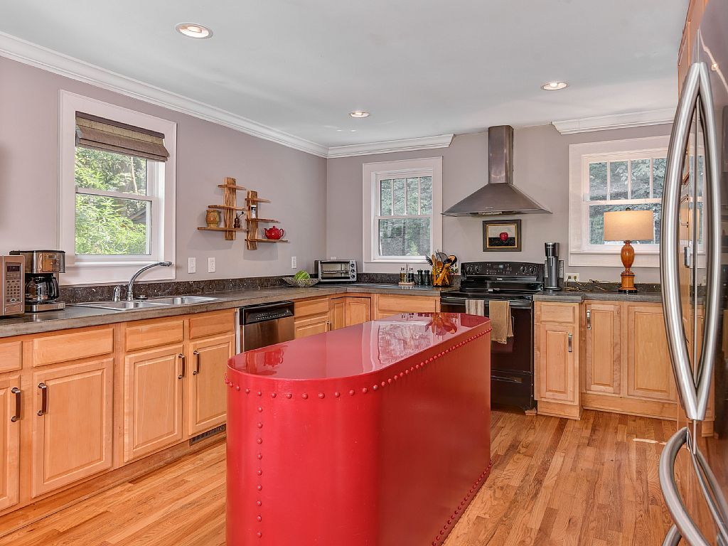 Colonial Two-Story Home kitchen unusual island
