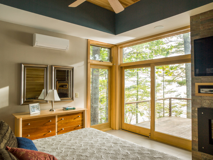 Contemporary lake house remodel master bedroom