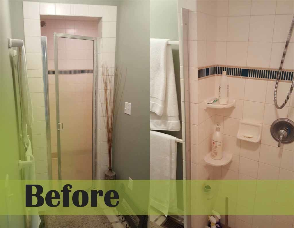 Re-tile master bath shower before and after