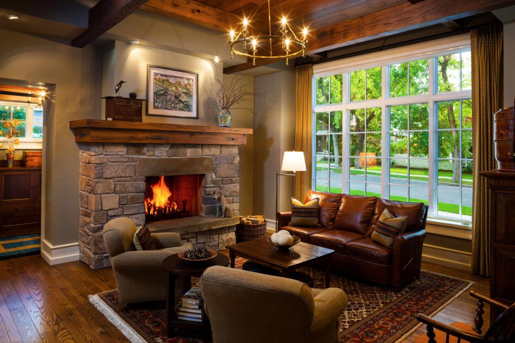 Craftsman Bungalow Cottage Stone Fireplace Rough hewn ceiling beams