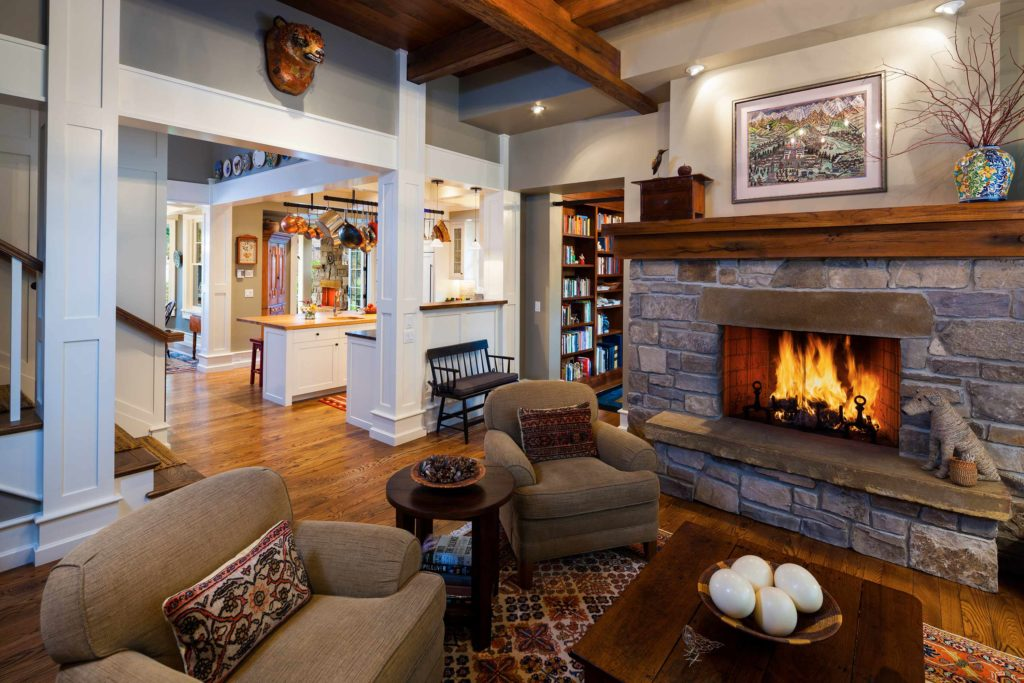 Craftsman Bungalow Cottage Stone Fireplace ceiling beams