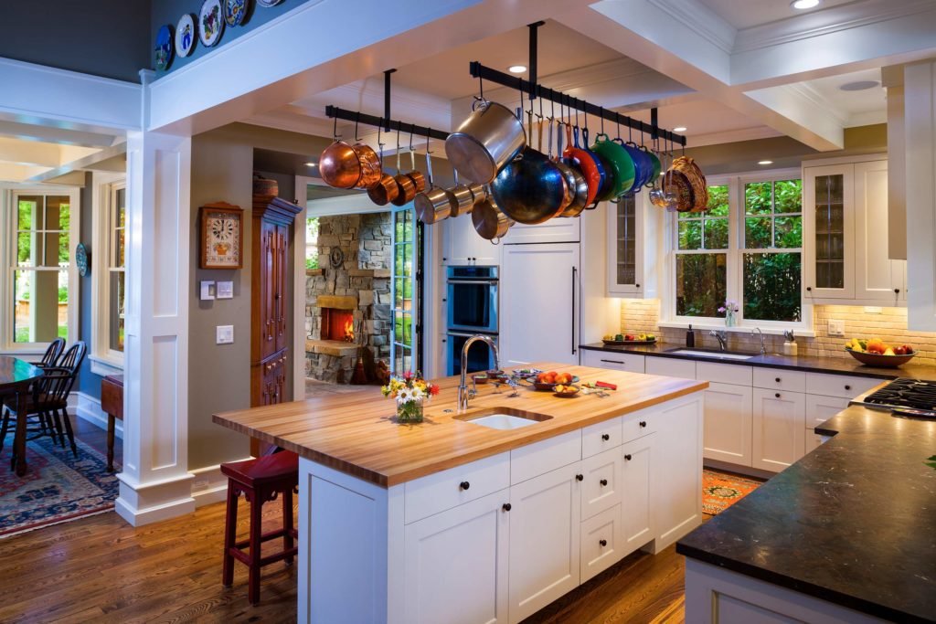 Craftsman Bungalow Cottage open kitchen wood countertops ceiling beams