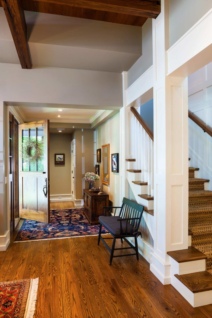 Craftsman Bungalow Cottage entry foyer open staircase ceiling beams