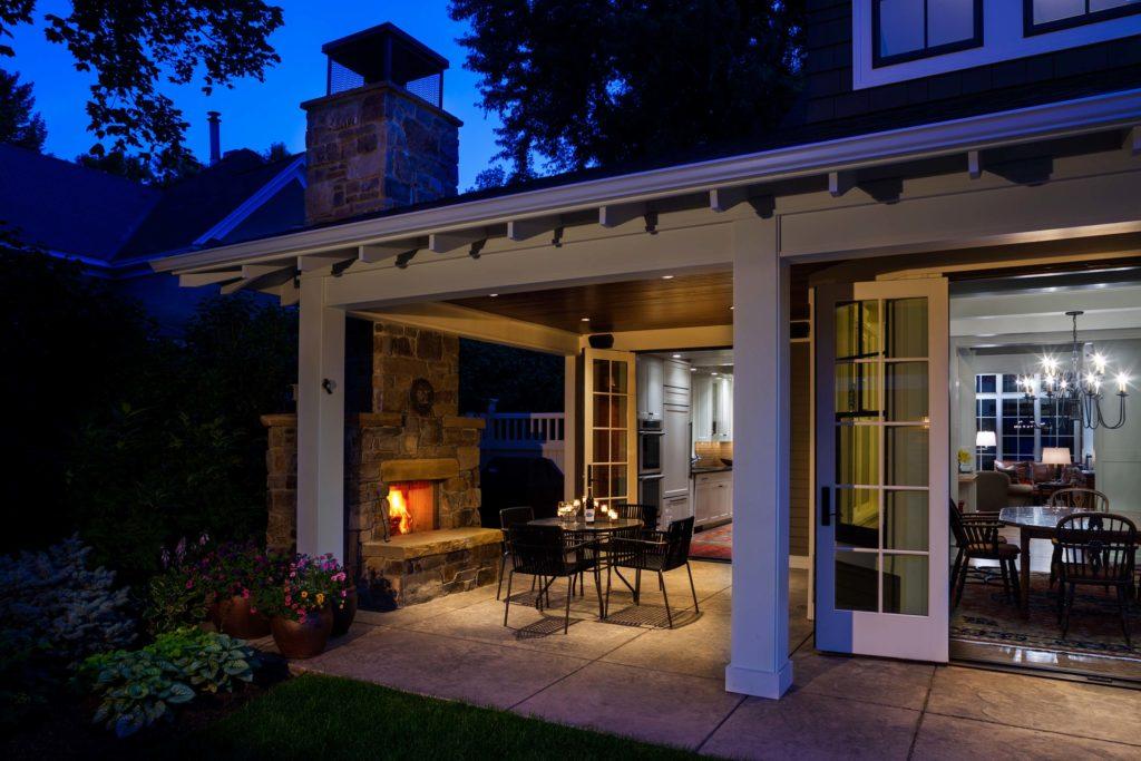 Craftsman Bungalow Cottage Stone Fireplace back Porch