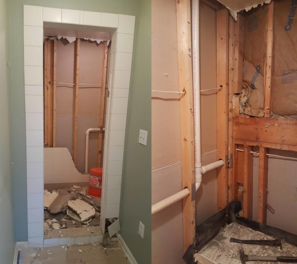 Re-tile master bath shower demolition before and after