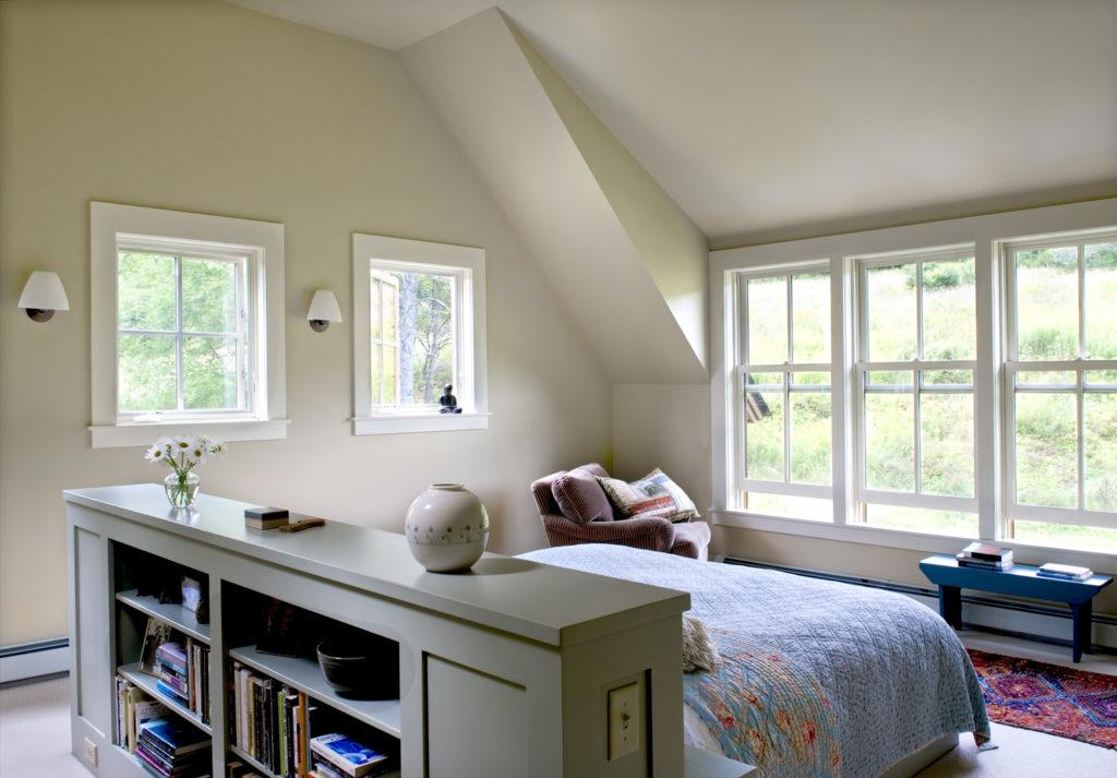 New Custom Farmhouse master bedroom built in headboard bookshelves