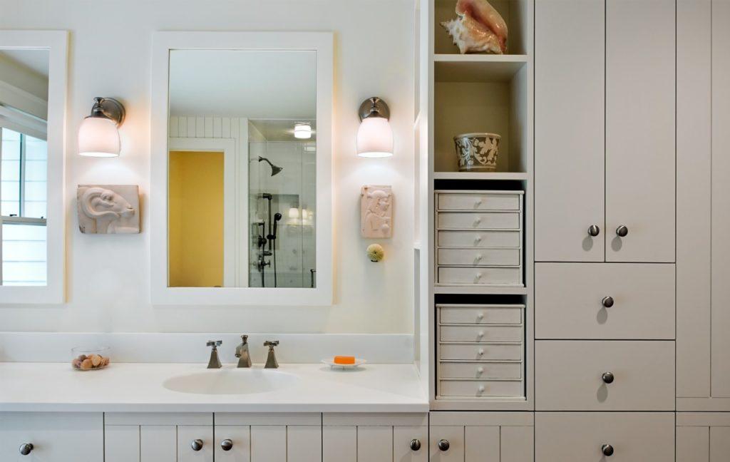 Farmhouse home restored barn master bathroom white cabinets