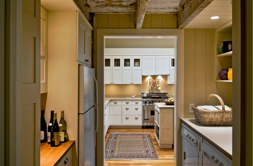Farmhouse home restored barn laundry room bar exposed beams