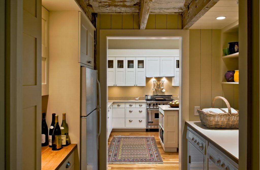 Farmhouse home restored barn laundry room bar exposed beams