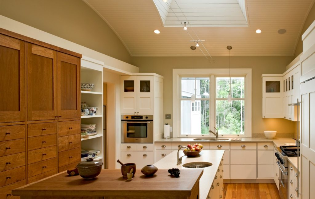 Farmhouse home restored barn kitchen white cabinets