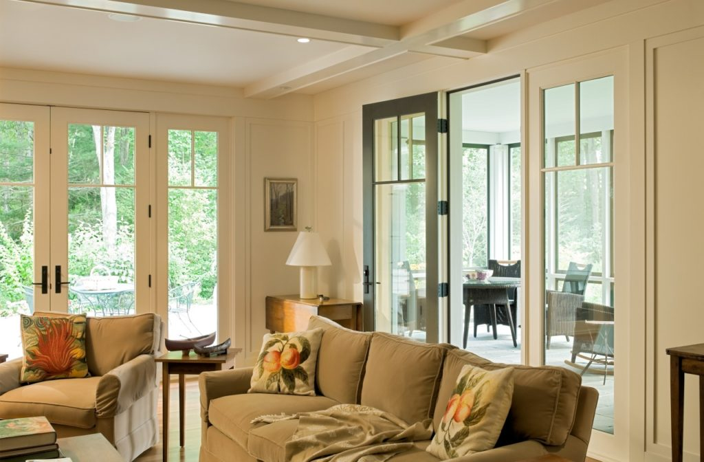 Farmhouse home restored barn family room ceiling beams