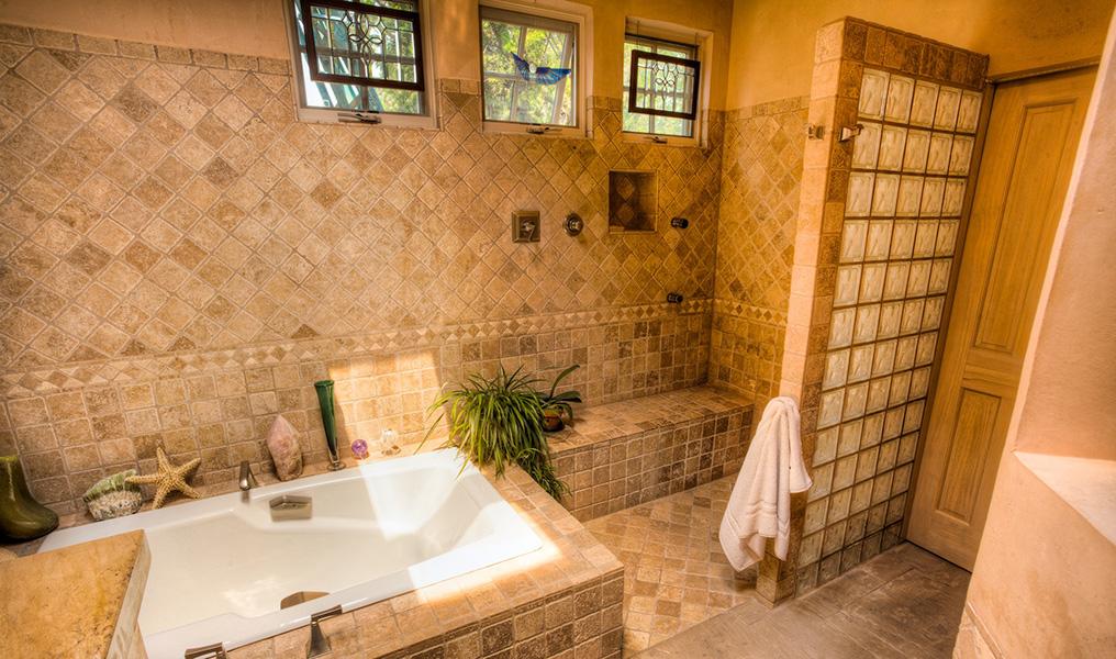 Santa Fe Adobe Pueblo Home master bath