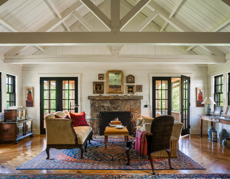 Farmhouse Living Room Exposed Trusses Wood Ceiling