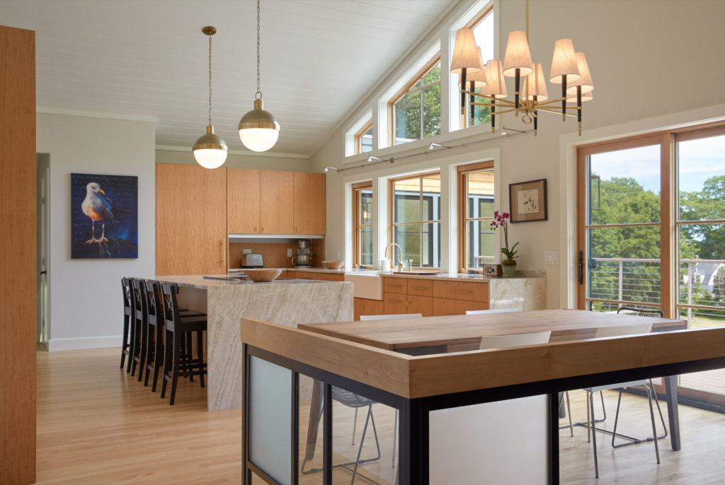 Mid-Century Modern home remodel addition kitchen vaulted ceiling