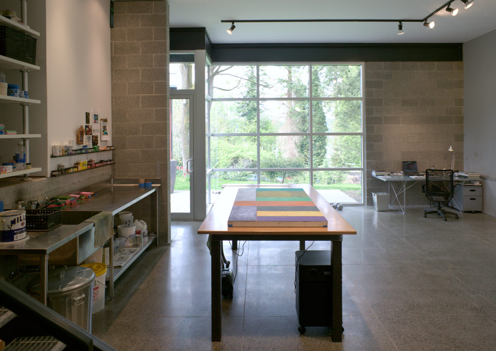Contemporary Cottage Modern Studio concrete floor concrete block walls