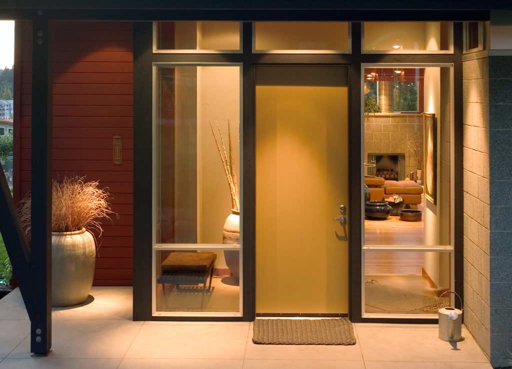 Contemporary Cottage Modern Studio Glass Entry Concrete Block Walls